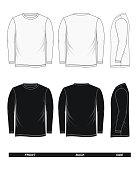 long-sleeved T-shirt front, back, side, vector image