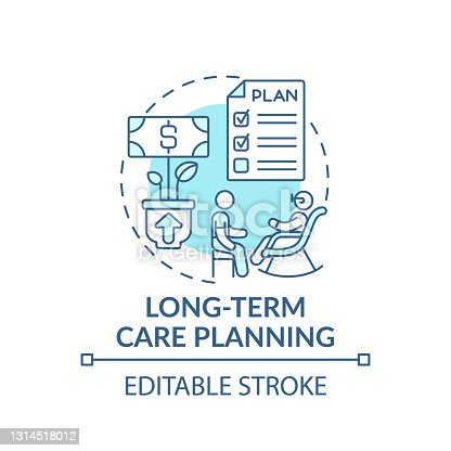 Long-term care planning concept icon. Wealth management idea thin line illustration. Dependence on income level. Retirement planning. Vector isolated outline RGB color drawing. Editable stroke