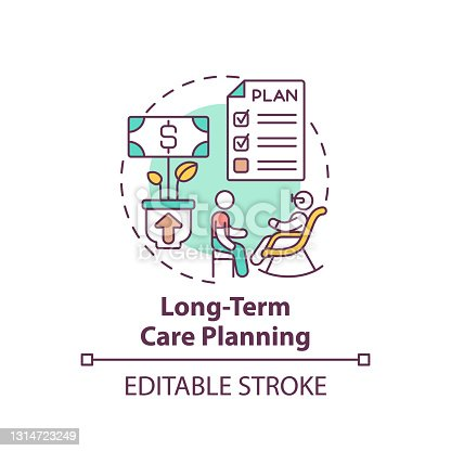 Long-term care planning concept icon. Wealth management idea thin line illustration. Meeting health, personal care needs. Nursing homes. Vector isolated outline RGB color drawing. Editable stroke