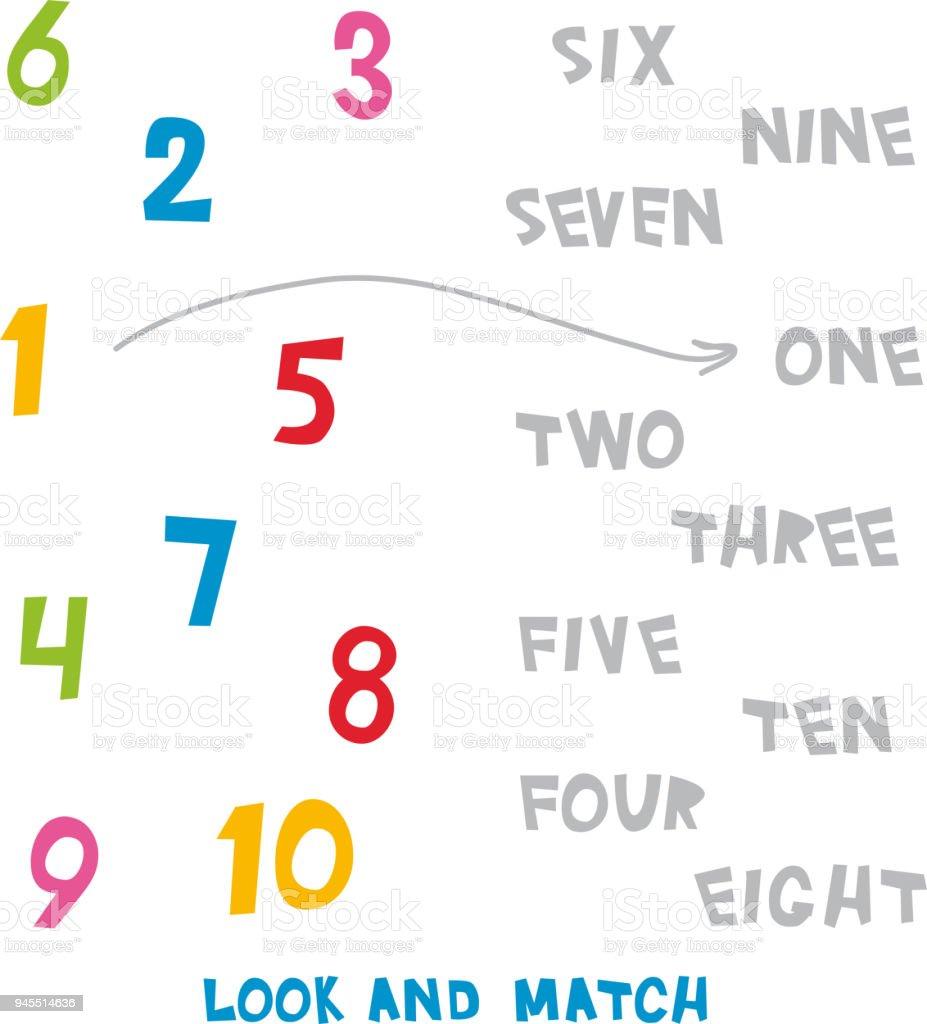 Sehen Sie Aus Und Passen Sie Die Zahlen 1 Bis 10 Kinder Wörter ...