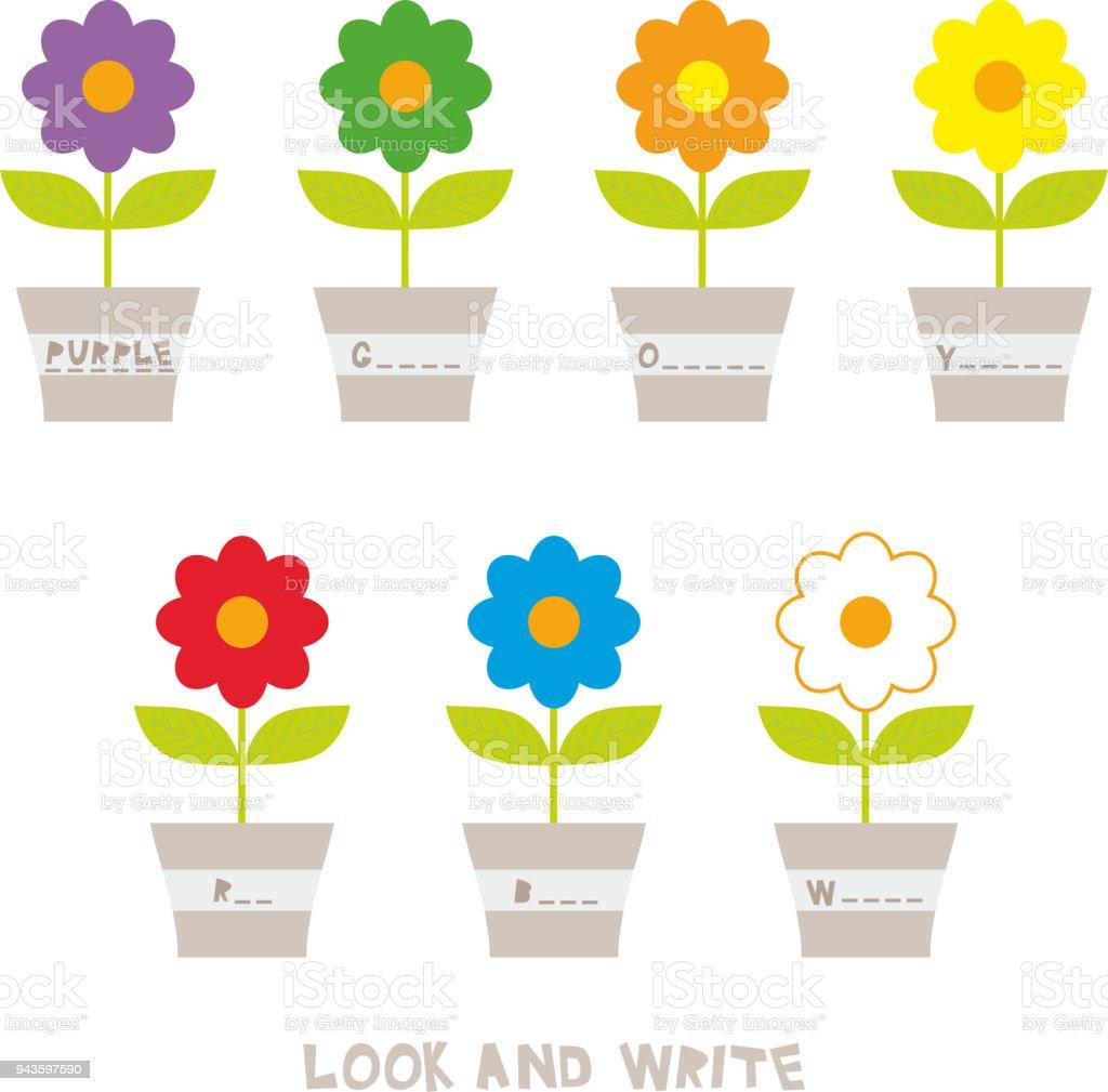 Suchen Und Schreiben Blumen In Töpfen Kinder Wörter Lernen Spiel ...