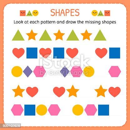 Ilustración de Mira Cada Patrón Y Dibujar Las Formas Que Faltan ...