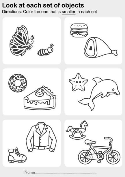 schauen sie sich jeden satz von objekten an-farbe, die in jedem satz kleiner ist - schulbedarfskuchen stock-grafiken, -clipart, -cartoons und -symbole
