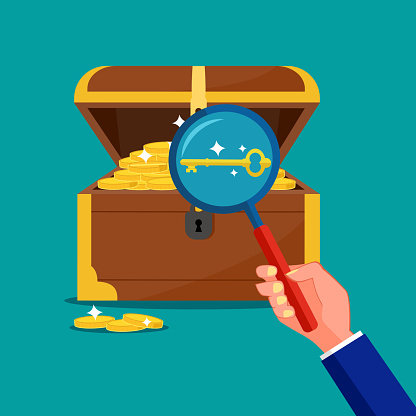 look at the keys in the treasure chest. The concept of the key is a treasure. vector
