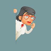 Look out corner female professor expert genius scientist character icons set retro cartoon design vector illustration