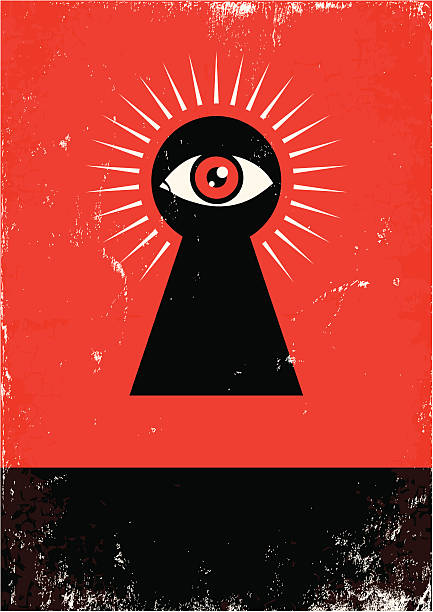 look through the keyhole Red and black poster with  keyhole and eye keyhole stock illustrations