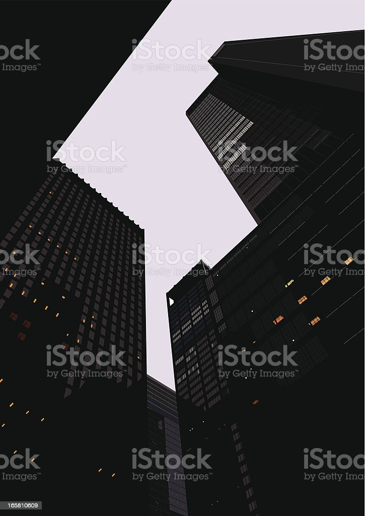 look up high buildings and large mansions vector art illustration