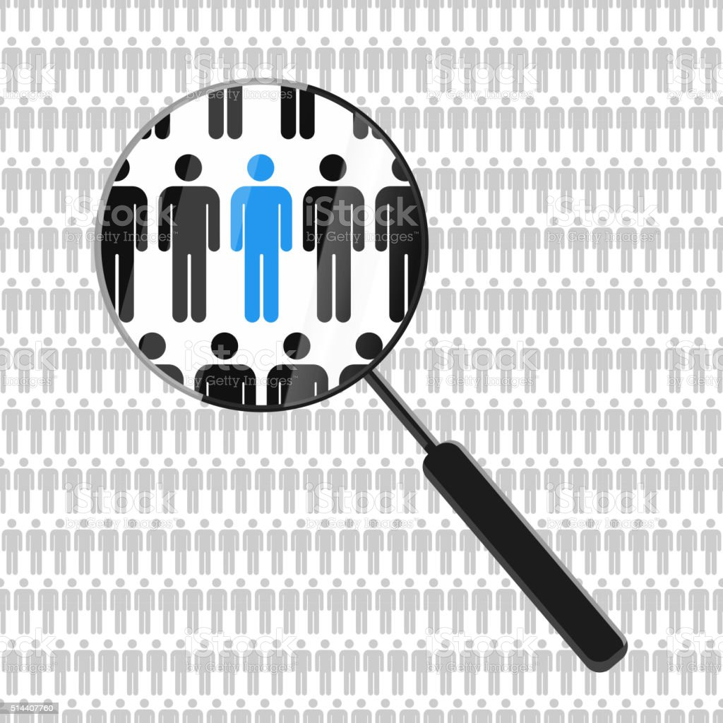 HR looking for a employee with magnifying glass vector art illustration