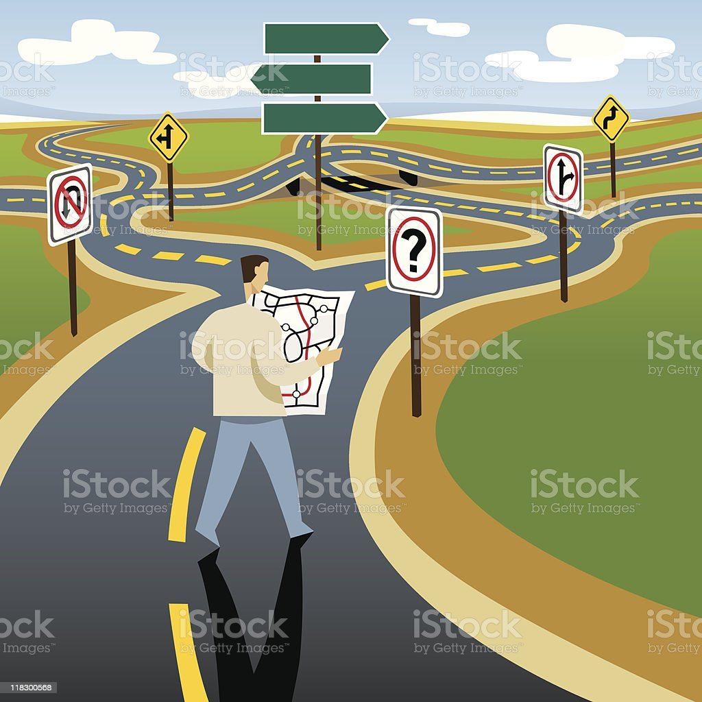 Looking for Directions on Winding Road vector art illustration