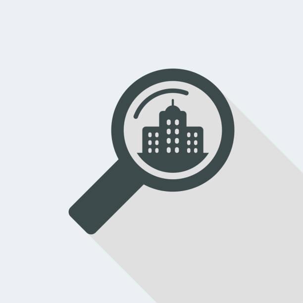 auf der suche nach hotel-oder immobilienforschung - forschungsurlaub stock-grafiken, -clipart, -cartoons und -symbole