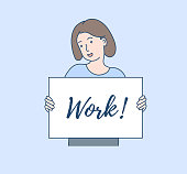 Work flat vector illustration. Looking for a job. Company invitation concept. A boy as in a cartoon.