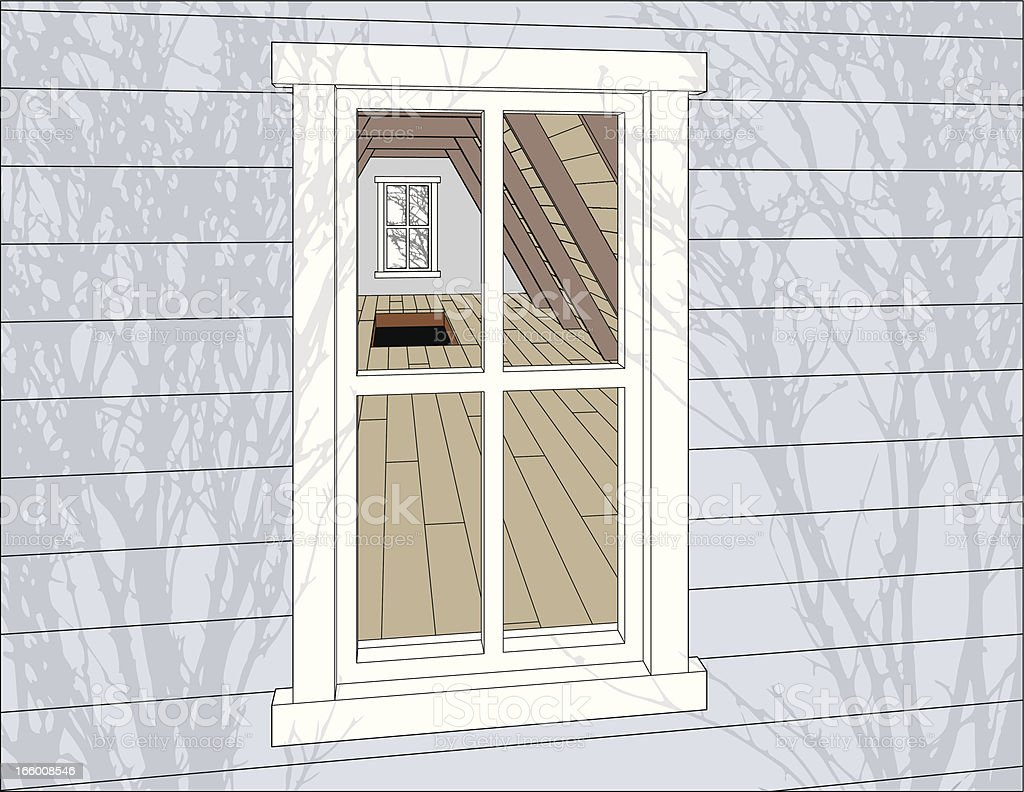 Looking into attic window vector art illustration