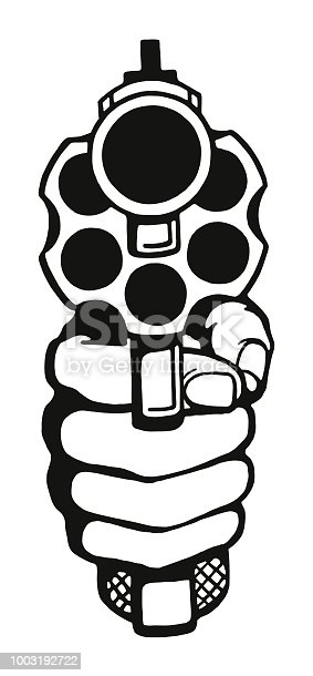istock Looking into the Barrel of a Revolver 1003192722