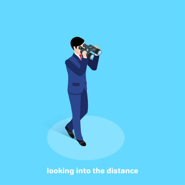 looking into the distance vector art illustration