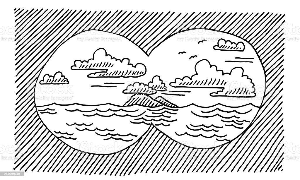 Looking Through Binoculars Sea Drawing royalty-free looking through binoculars sea drawing stock vector art & more images of binoculars