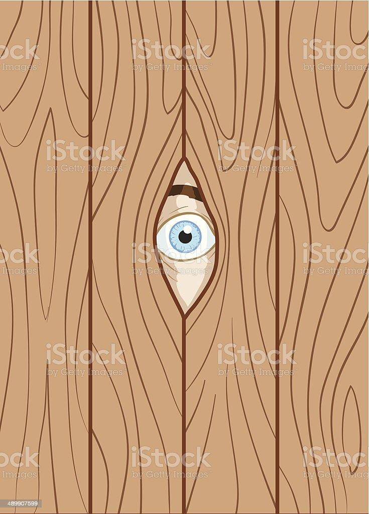 Looking through fence vector art illustration