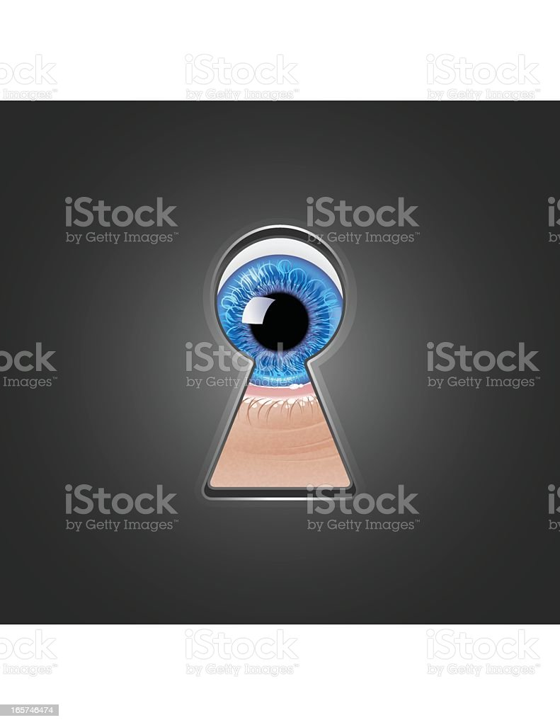 Looking Through Keyhole royalty-free stock vector art