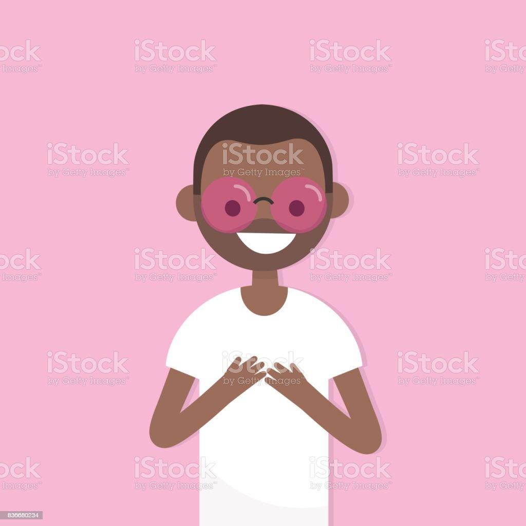 ピンク色のメガネを通して見る概念図若い黒文字ピンク サングラスです