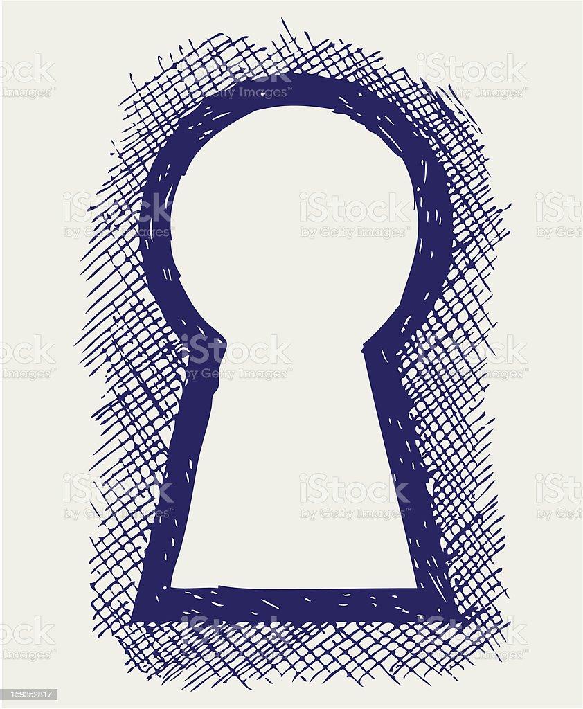 Looking through the blue keyhole vector art illustration