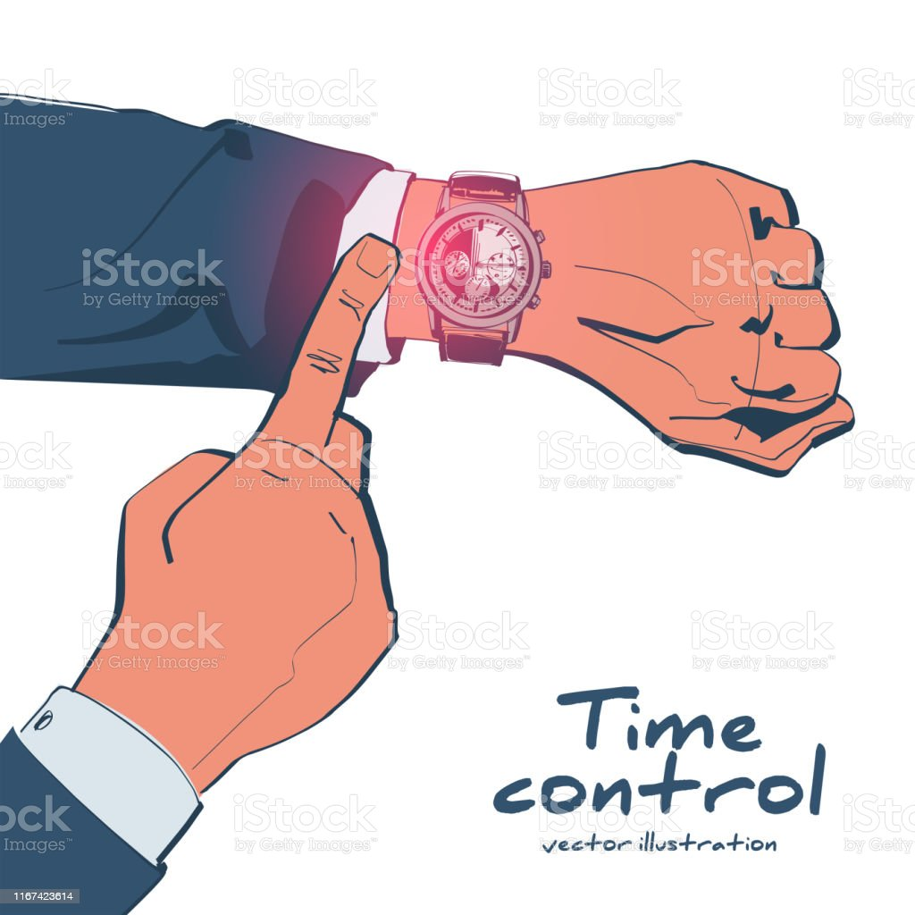 Looking time sketch drawing design. Human in suit watching time. Time...