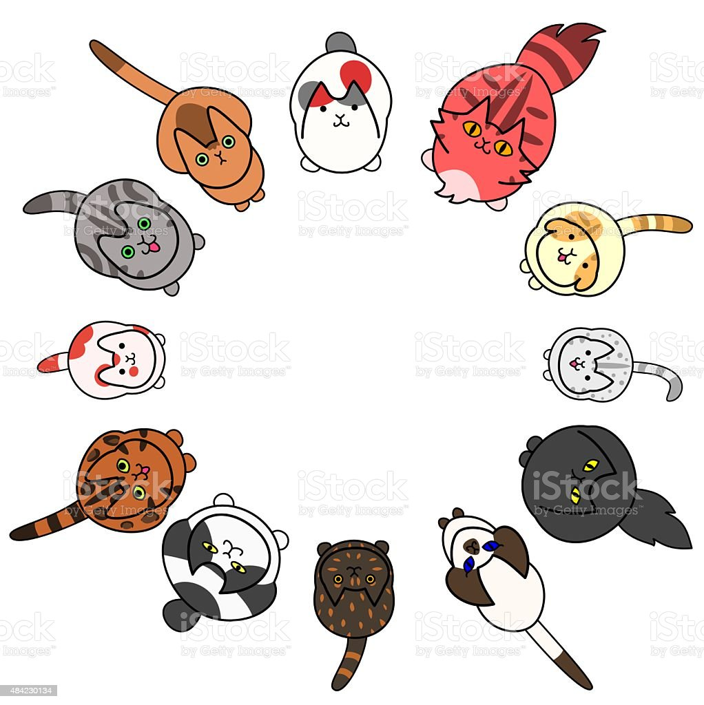 looking up cats in circle with copy space vector art illustration
