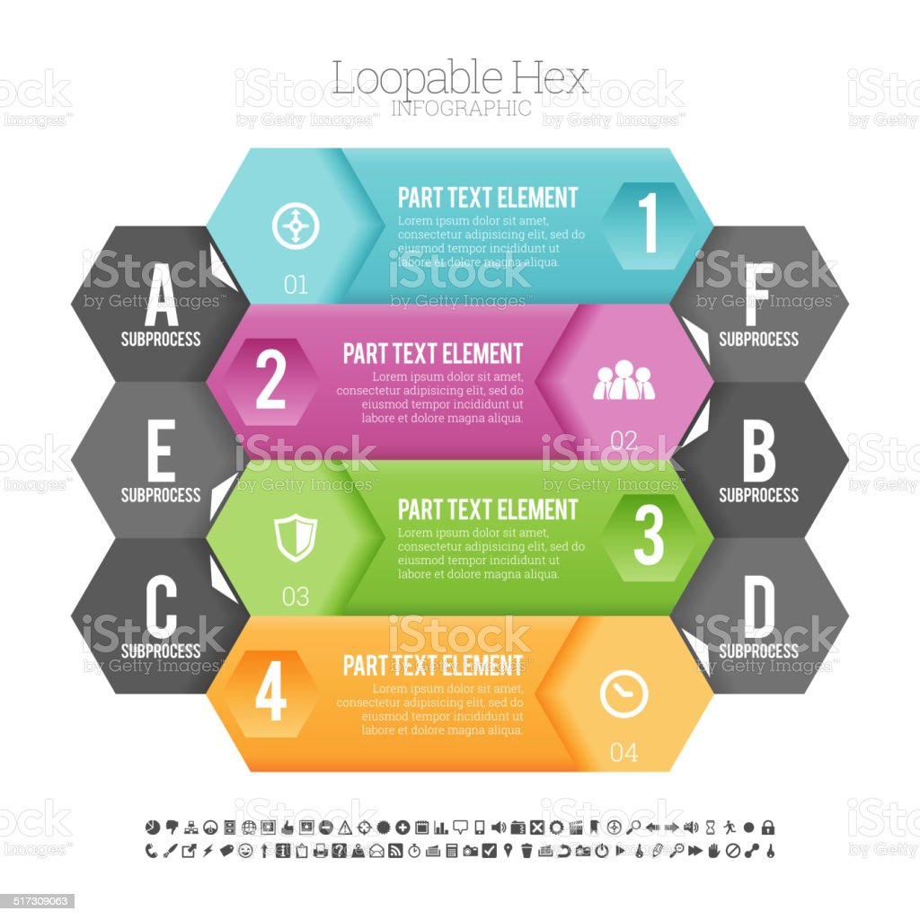 Loopable Hex Infographic vector art illustration