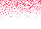 Loopable love frame - Pink heart shaped confetti forming a header - footer background for use as a design element stock illustration