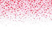 ループ可能な愛のフレーム - ヘッダーを形成するピンクのハート形の紙吹雪 - デザイン要素ストックイラストとして使用するためのフッターの背景