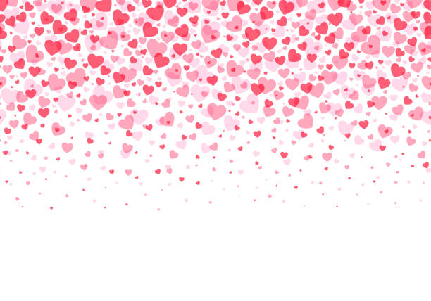 loopable love frame - różowe konfetti w kształcie serca tworzące nagłówek - tło stopki do wykorzystania jako ilustracja stockowa elementu projektu - kartka na walentynki stock illustrations