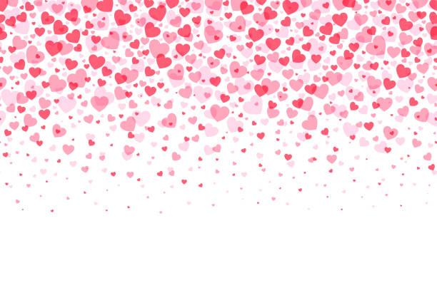 illustrations, cliparts, dessins animés et icônes de cadre d'amour loopable - confettis en forme de coeur rose formant un en-tête - fond de pied pour l'usage comme illustration de stock d'élément de conception - saint valentin