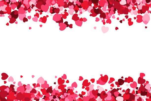 loopable love frame - różowe konfetti w kształcie serca tworzące nagłówek - tło stopki do wykorzystania jako element projektu - kartka na walentynki stock illustrations