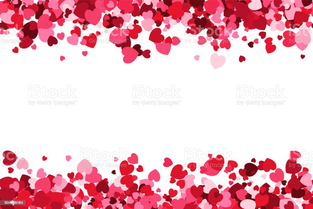 Loopable love frame - Pink heart shaped confetti forming a header - footer background for use as a design element vector art illustration