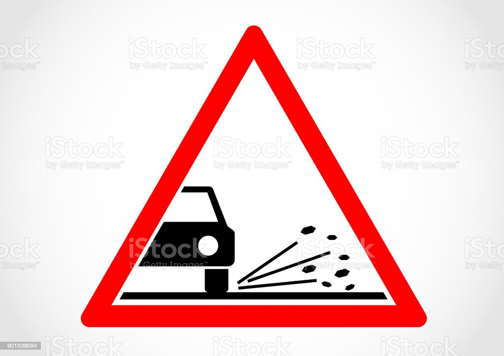 Loose chippings sign vector art illustration