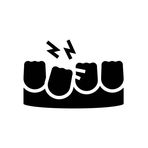 loose tooth glyph icon vector illustration loose tooth glyph icon vector. loose tooth sign. isolated contour symbol black illustration streptococcus mutans stock illustrations