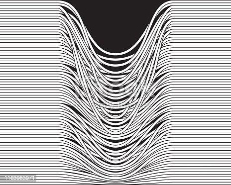 Abstract vector illustration depicting movement; being interrupted; looseness ...