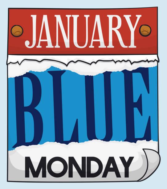 stockillustraties, clipart, cartoons en iconen met losbladige kalender vrije regelval gebruikt en tonen van blauwe maandag - blue monday