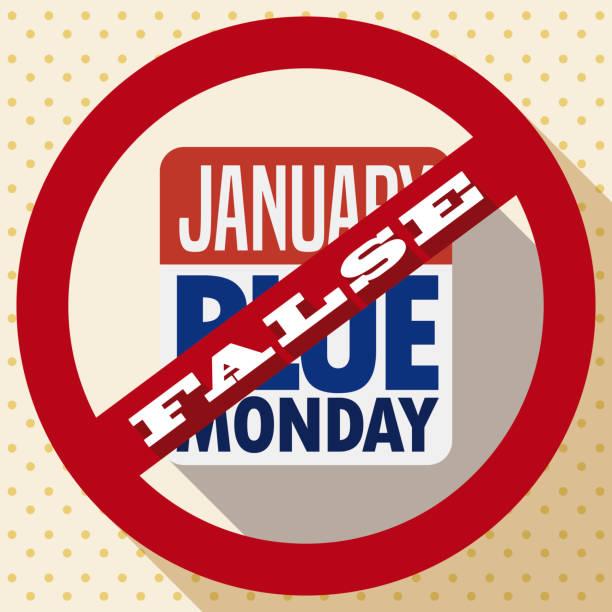 stockillustraties, clipart, cartoons en iconen met losbladige kalender met blauwe maandag datum in een verbod op signaal - blue monday