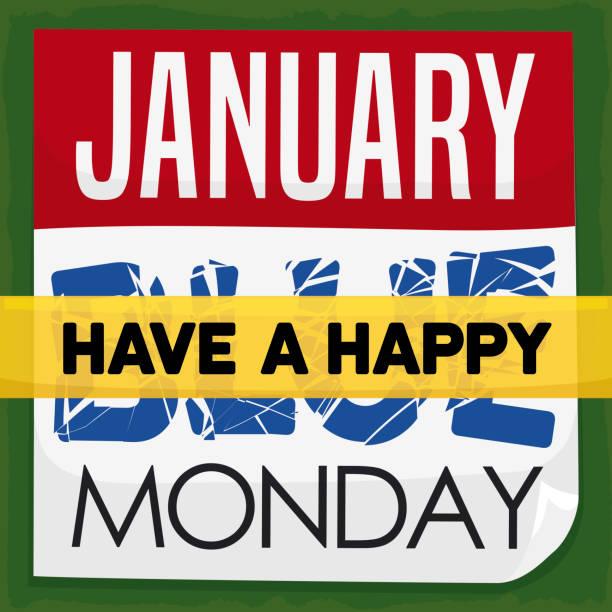 stockillustraties, clipart, cartoons en iconen met losbladige kalender met correctie tape voor blauwe maandag - blue monday