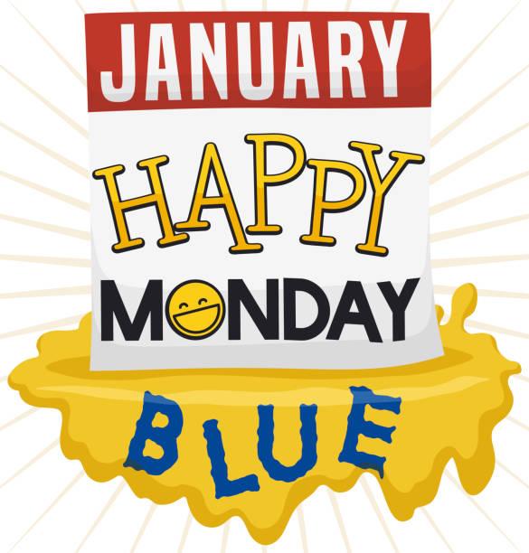 stockillustraties, clipart, cartoons en iconen met losbladige kalender met groeten bericht en splash voor blauwe maandag - blue monday