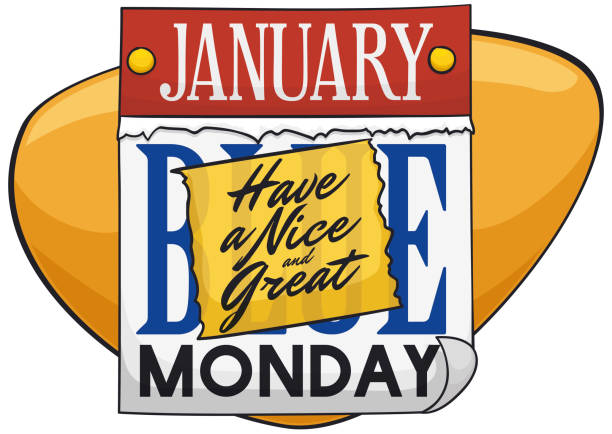 stockillustraties, clipart, cartoons en iconen met losbladige kalender met de groeten van papier om het leiden van de blauwe maandag - blue monday