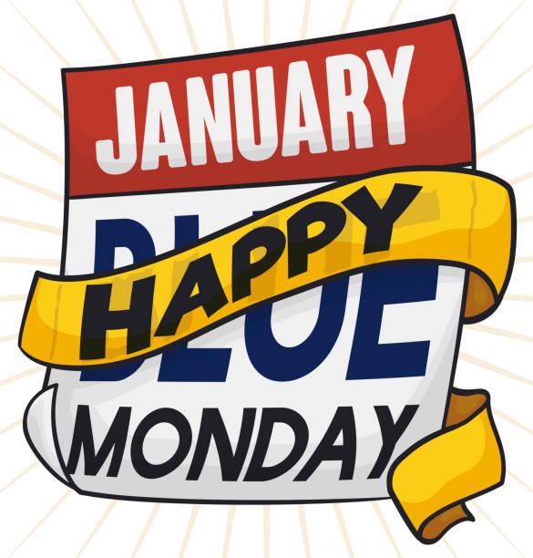 stockillustraties, clipart, cartoons en iconen met losbladige kalender met moraal van lint voor blauwe maandag geloof - blue monday