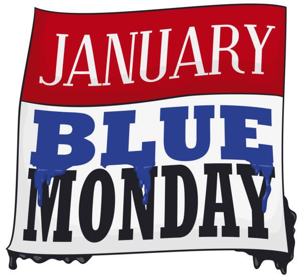 stockillustraties, clipart, cartoons en iconen met losbladige kalender met lekt verf voor blauwe maandag - blue monday