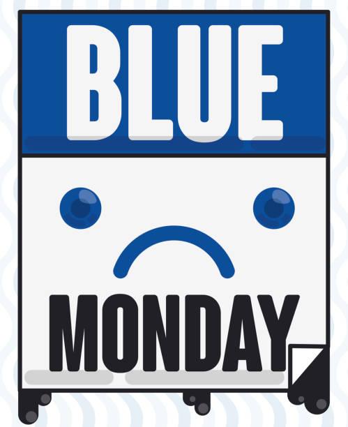 stockillustraties, clipart, cartoons en iconen met losbladige kalender met sad face tijdens blauwe maandag - blue monday
