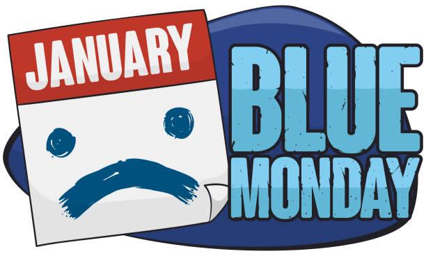 illustrazioni stock, clip art, cartoni animati e icone di tendenza di loose-leaf calendar with sad face painted for blue monday - blue monday