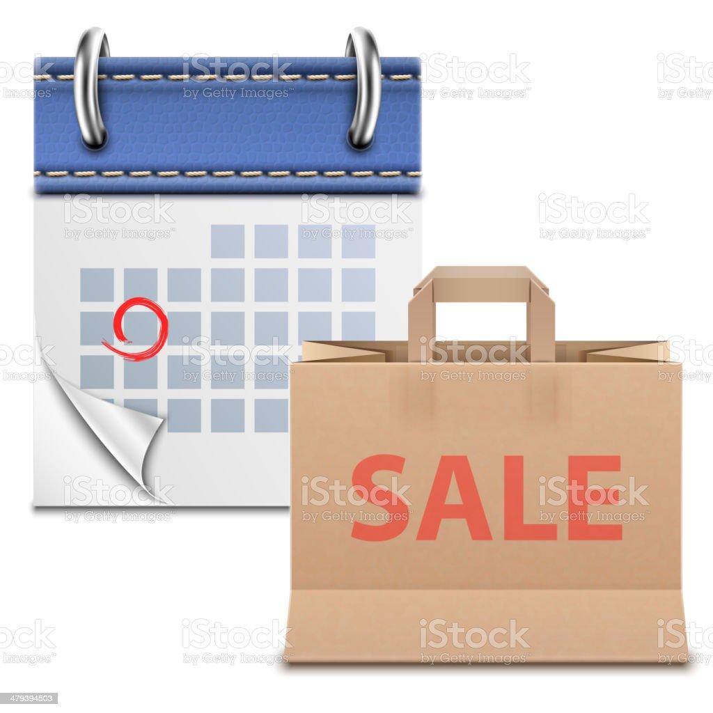 Losen Kalender mit Einkaufstasche. Lizenzfreies losen kalender mit einkaufstasche stock vektor art und mehr bilder von ausverkauf