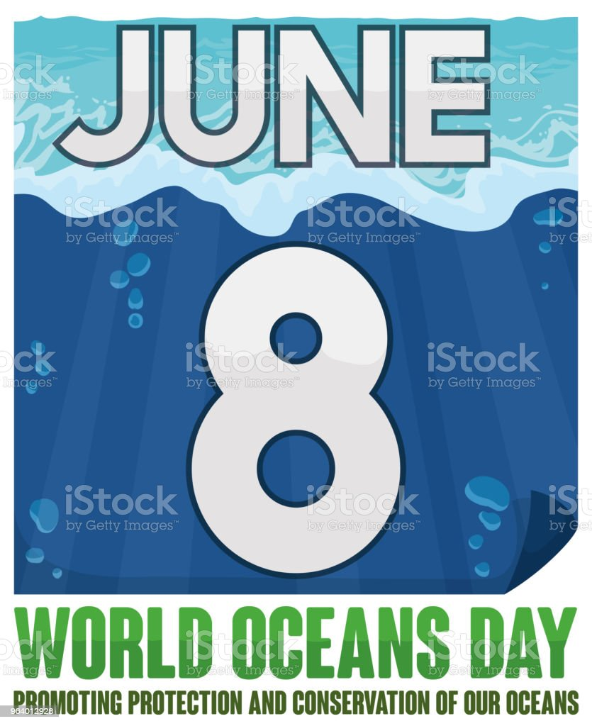 海の日海底ビュー ルーズリーフ カレンダー - お祝いのロイヤリティフリーベクトルアート