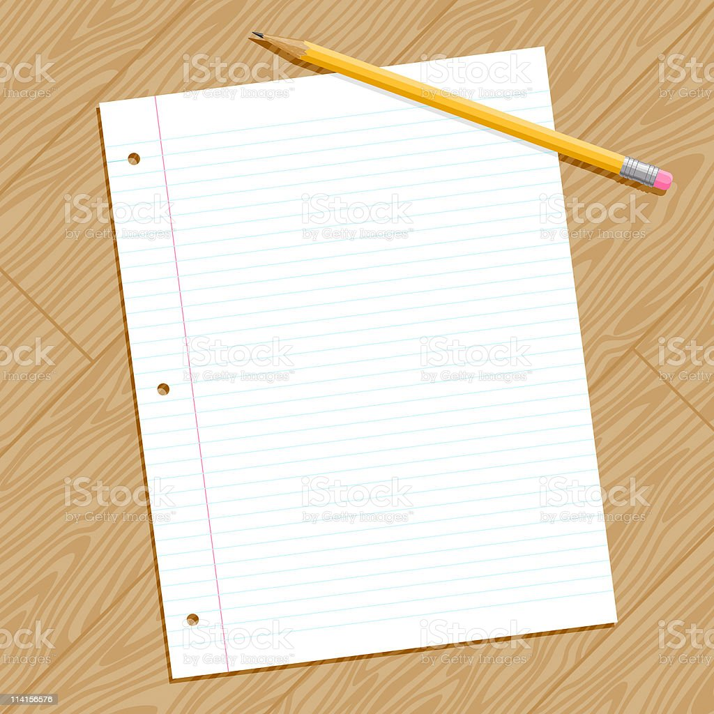 Looseleaf Paper and Pencil on a desk vector art illustration