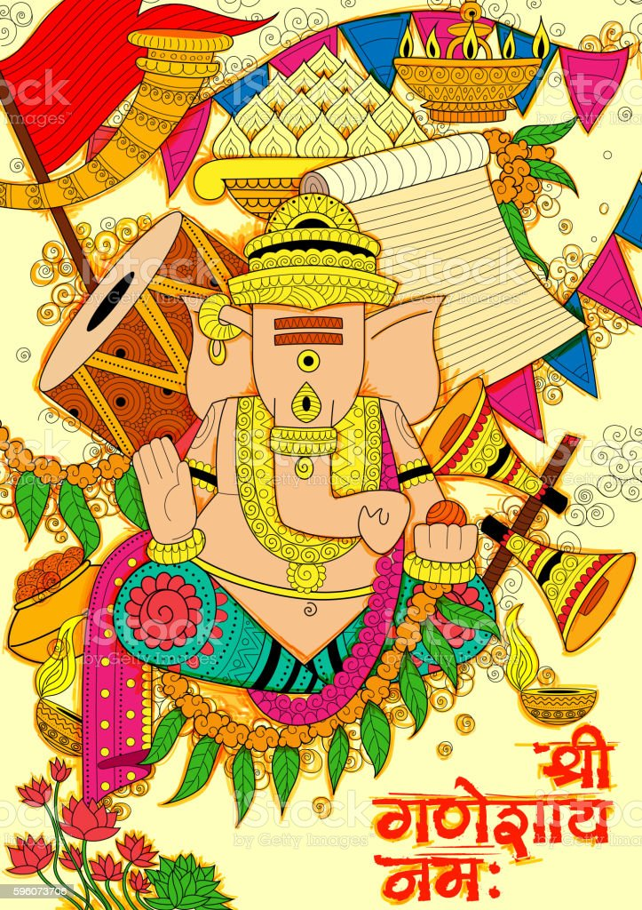 Lord Ganapati background for Ganesh Chaturthi royalty-free lord ganapati background for ganesh chaturthi stock vector art & more images of asia
