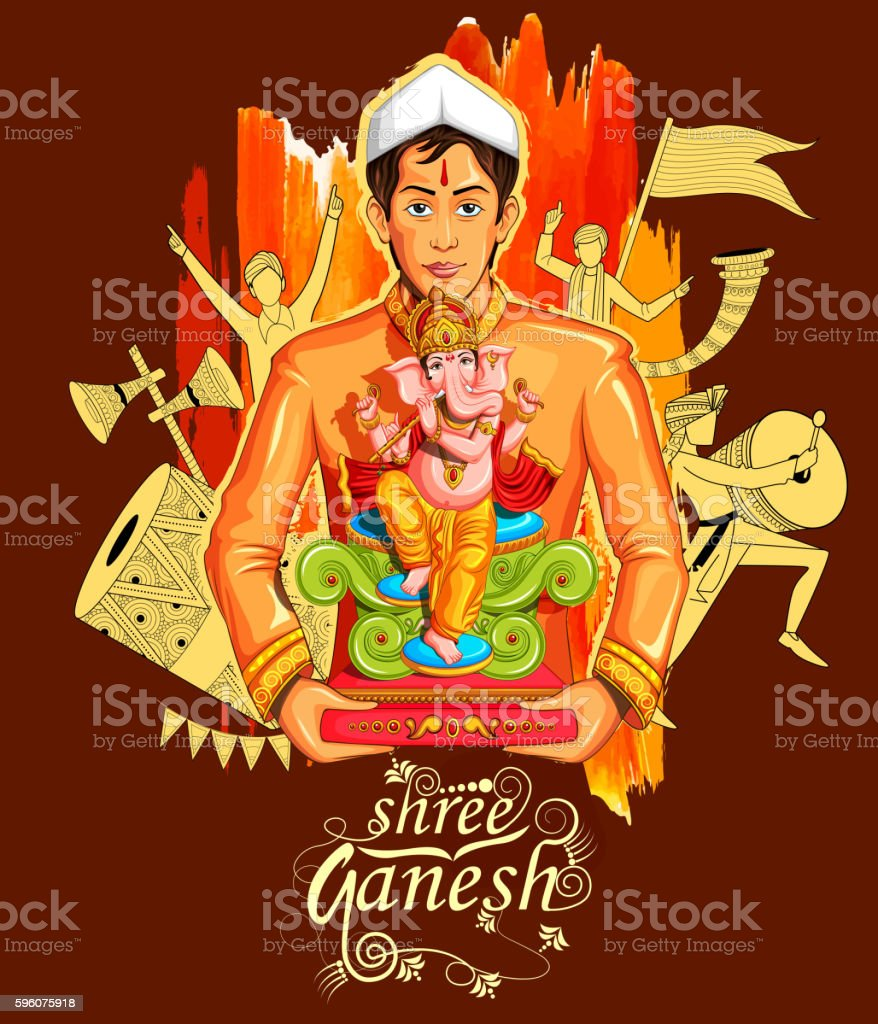Lord Ganapati background for Ganesh Chaturthi royalty-free lord ganapati background for ganesh chaturthi stock vector art & more images of adult