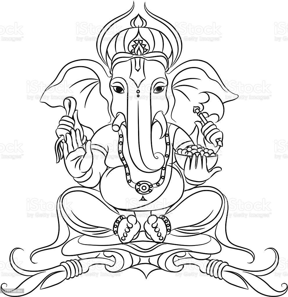 Ganesh Line Drawing : Lord ganesh stock vector art more images of ganesha